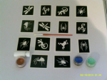 Insect & small animal glitter tattoo set including 30 stencils + 3 glitter colours + glue  lizard spider squirrel dragonfly